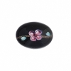 Cabouchon Glass 18/13mm Oval Black with flower Inside